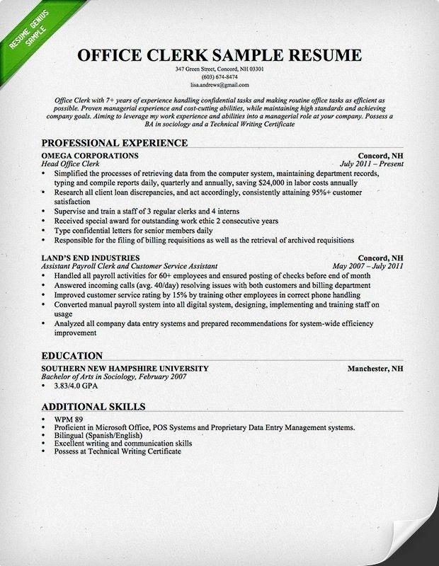 Sample Cover Letter For Office Clerk | The Best Letter Sample