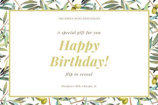 Green Olive Plant Elegant Dinner Restaurant Birthday Gift ...