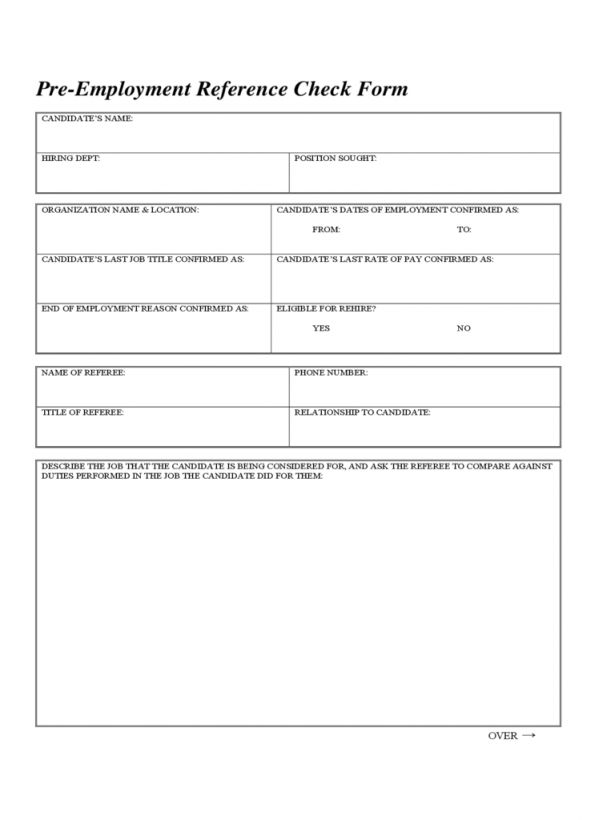 Checks Template Personal Reference Check Form Template Reference ...