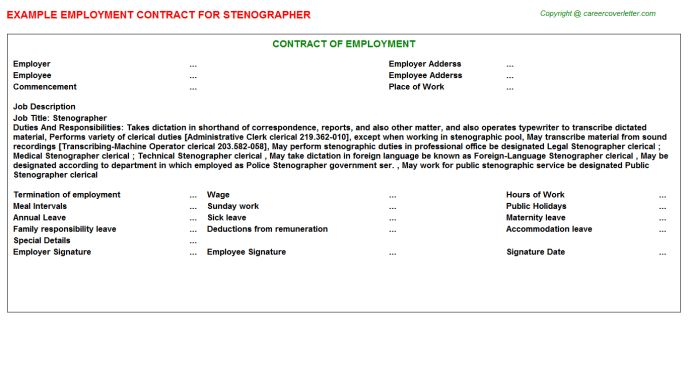 Stenographer Employment Contract