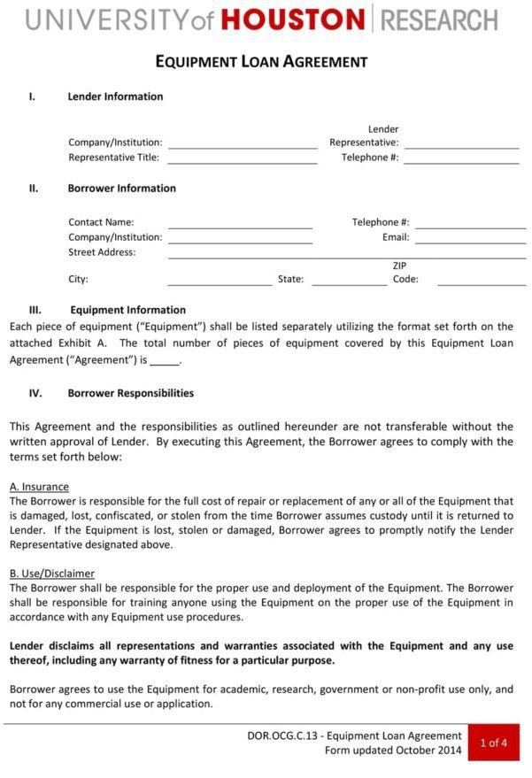Simple Equipment Loan Agreement Form Equipment Loan Agreement ...