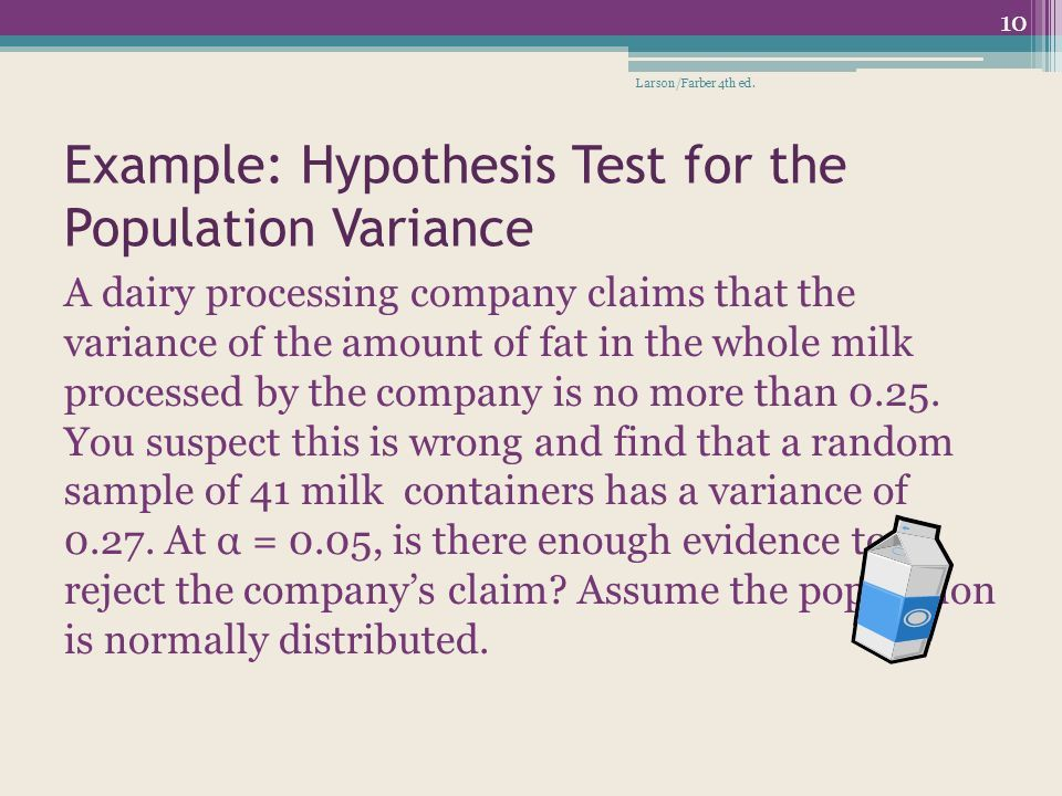 Hypothesis Testing for Variance and Standard Deviation - ppt download