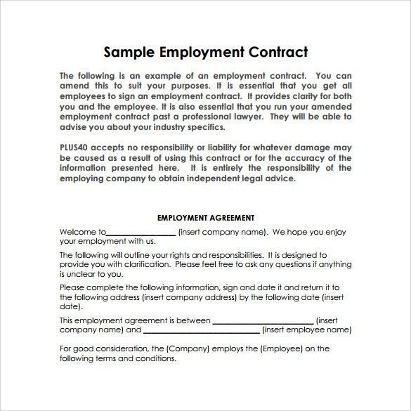 Sample Basic Contract Template - 13+ Free, Sample, Example Format ...