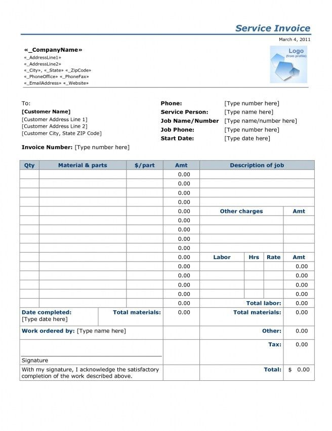 Simple Labor Invoice Template | Design Invoice Template