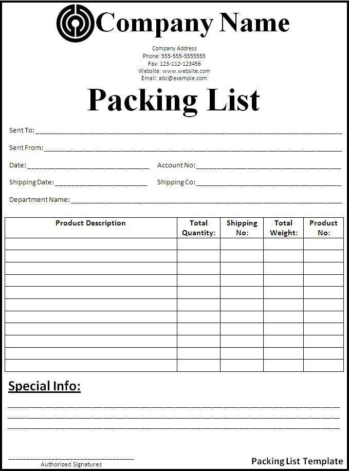 Packing List Template - Best Word Templates
