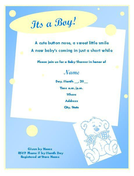 sample baby shower invitation for a boy baby shower invitation ...