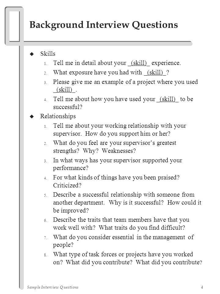 Sample Interview Questions - ppt video online download