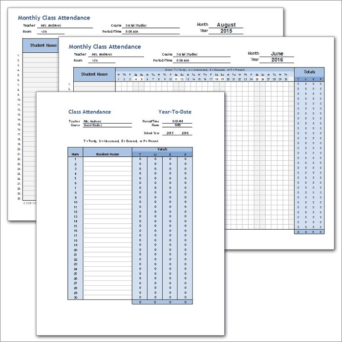 Class Attendance Template - Full School Year