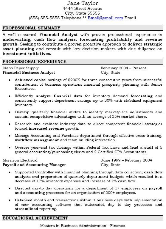 Financial Analyst Resume Example. Financial Analyst Resume Example ...