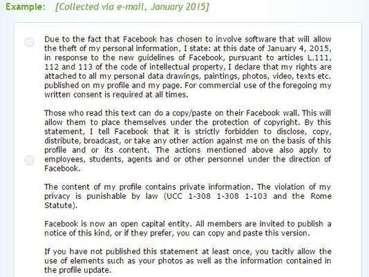 Posting a copyright status message on Facebook will protect your ...