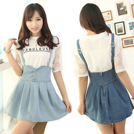 Denim strap dress Cute Kawaii Harajuku Fashion Clothing ...