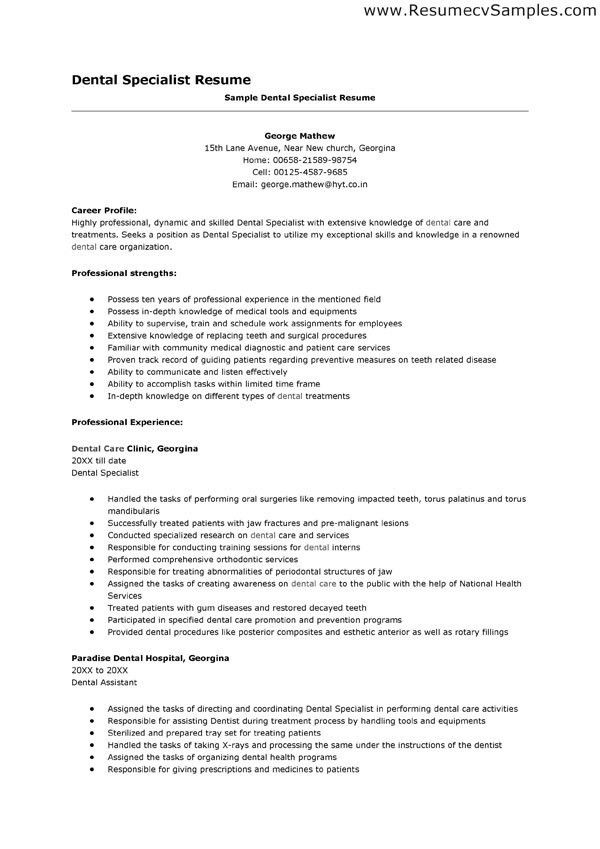 sample resume dentist resume sample dental assistant top dental ...