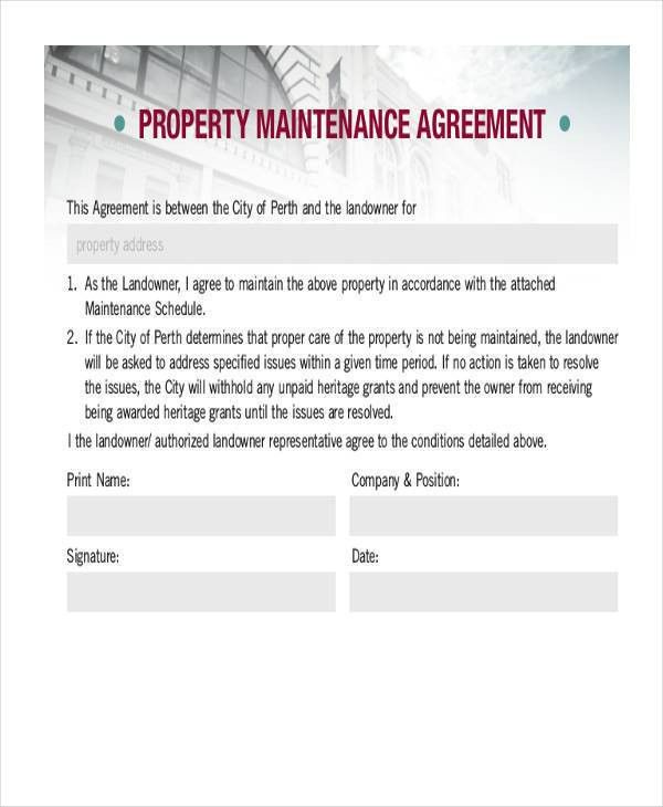 Free Maintenance Agreement Property Contract Template \u2013 ustam