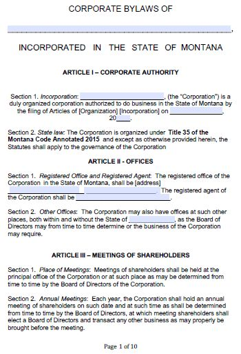 Free Montana Corporate Bylaws Template | PDF | Word |