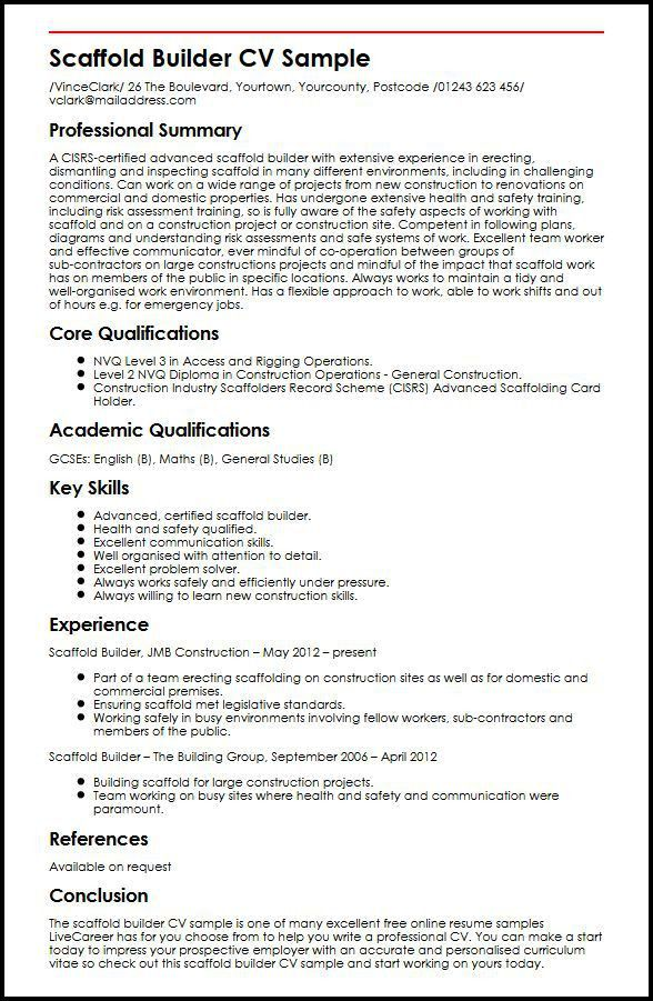 Scaffold Builder CV Sample | MyperfectCV