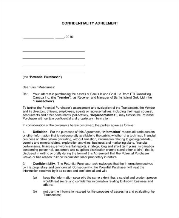Sample Vendor Confidentiality Agreement   7+ Documents In PDF, Word