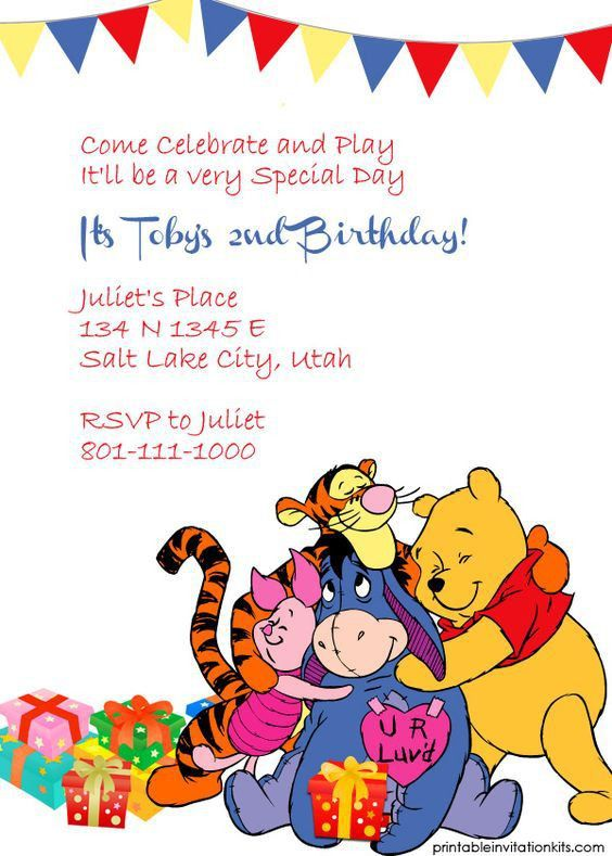 Winnie The Pooh Birthday Invitations - Blueklip.Com