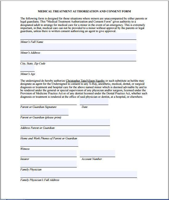 Authorization For Medical Treatment   Hashdoc. Sample Medical Consent Form  | Printable Medical Forms, Letters .