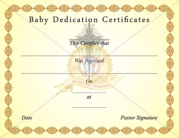 Baby Dedication Certificates - Certificate Template