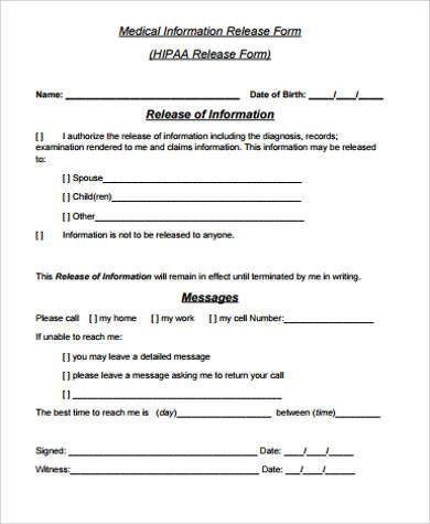 Information Release Form Template - cv01.billybullock.us