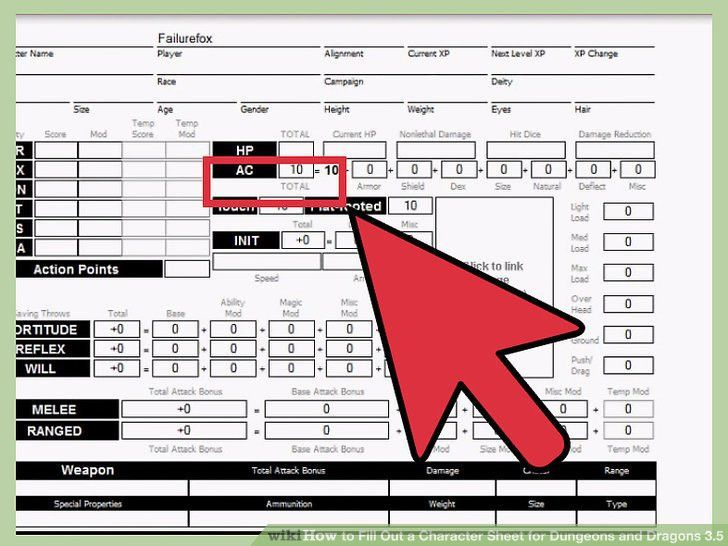 How to Fill Out a Character Sheet for Dungeons and Dragons 3.5