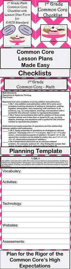 1st Grade Common Core Lesson Plan Template | Lesson plan templates ...