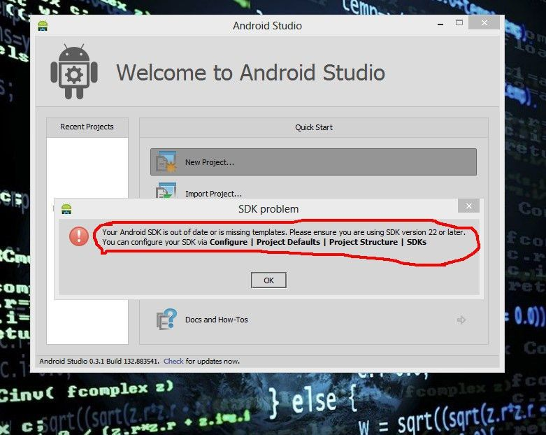 Android SDK is missing, out of date, or is missing templates ...