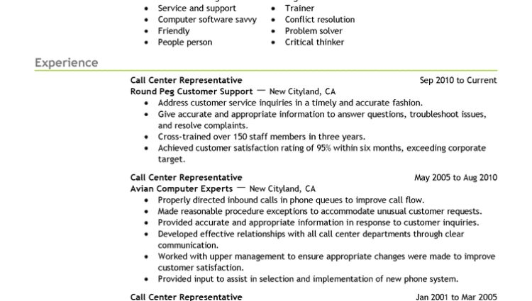 Best Resume Examples for Your Job call center representative ...