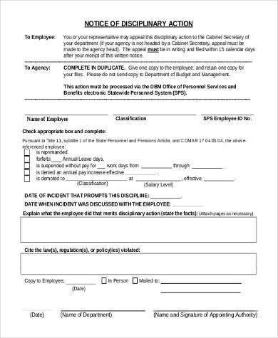 Employee Disciplinary Action Form Samples - 8+ Free Documents in ...