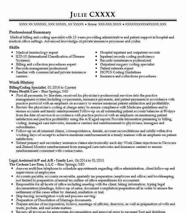 Clinical Coding Specialist Sample Resume] Professional Medical ...