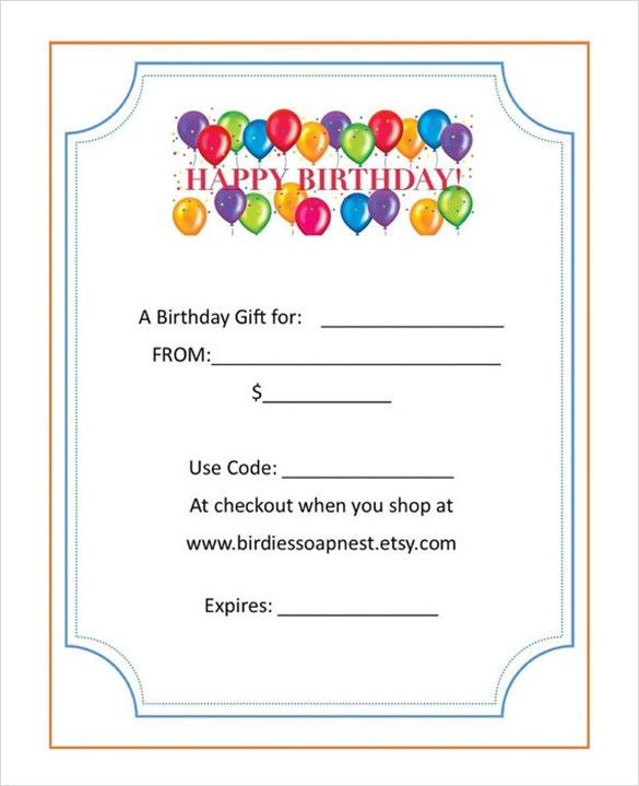 birthday gift certificate template - Template
