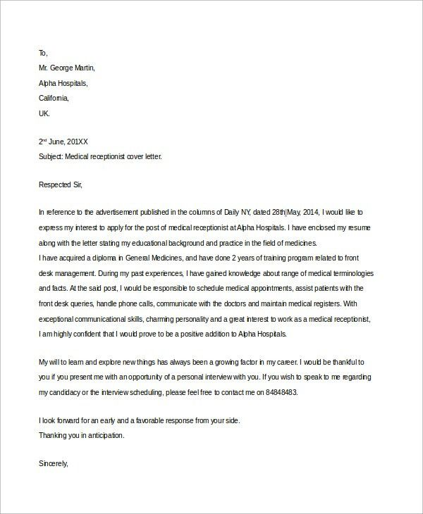 Sample Receptionist Cover Letter - 7+ Examples in Word, PDF