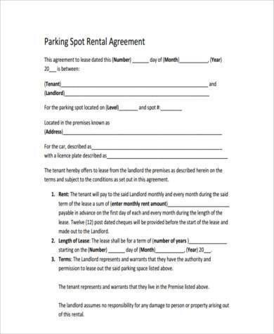 Sample Parking Lease Agreement. Sample Parking Lot Lease Agreement ...