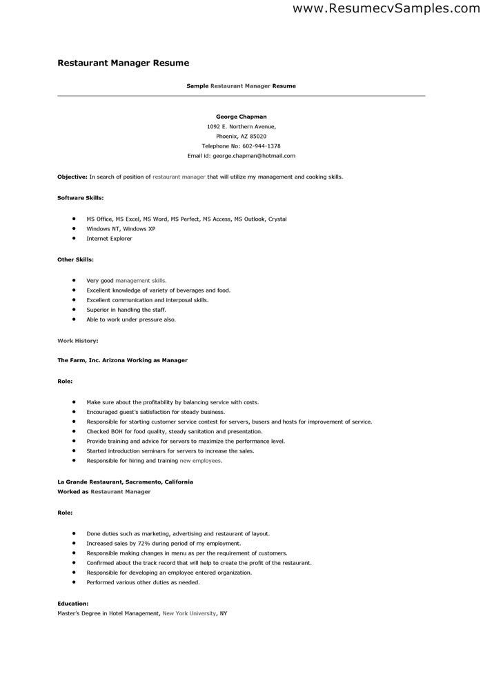 Download Restaurant Resume Templates | haadyaooverbayresort.com