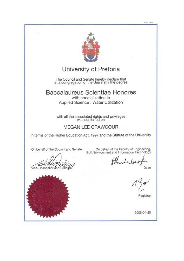Crawcour BSc Hons degree from the University of Pretoria