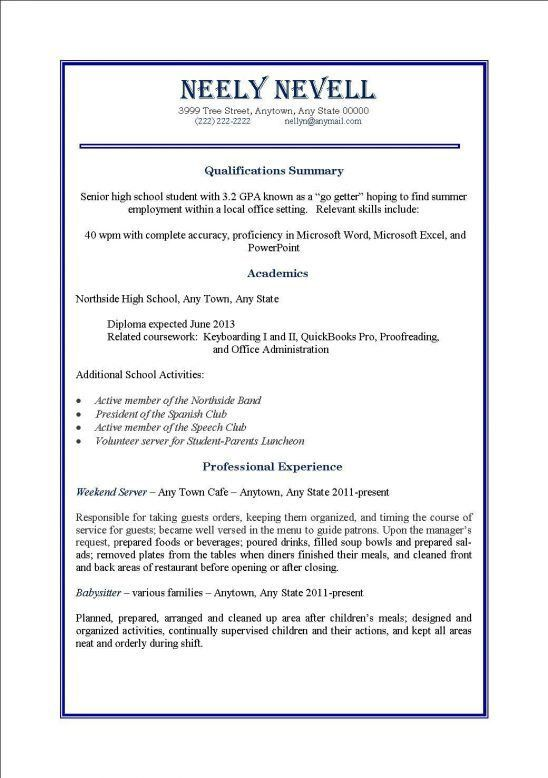 High School Student Resume Template No Experience. Resume For Job ...