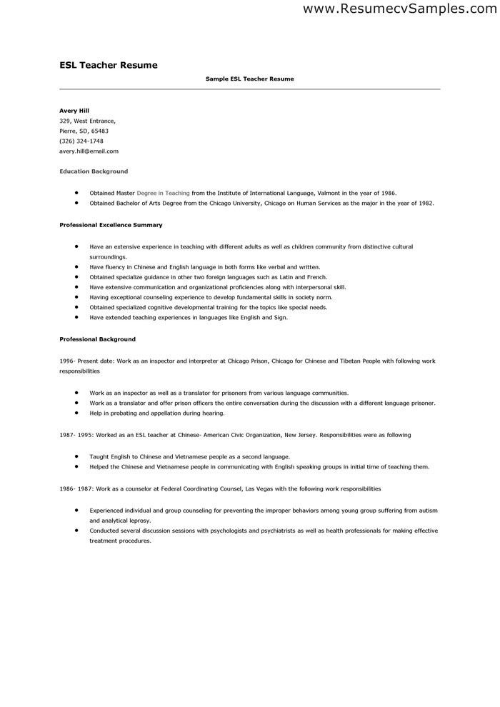 image result for resume sample esl teacher. esl sample resume esl ...