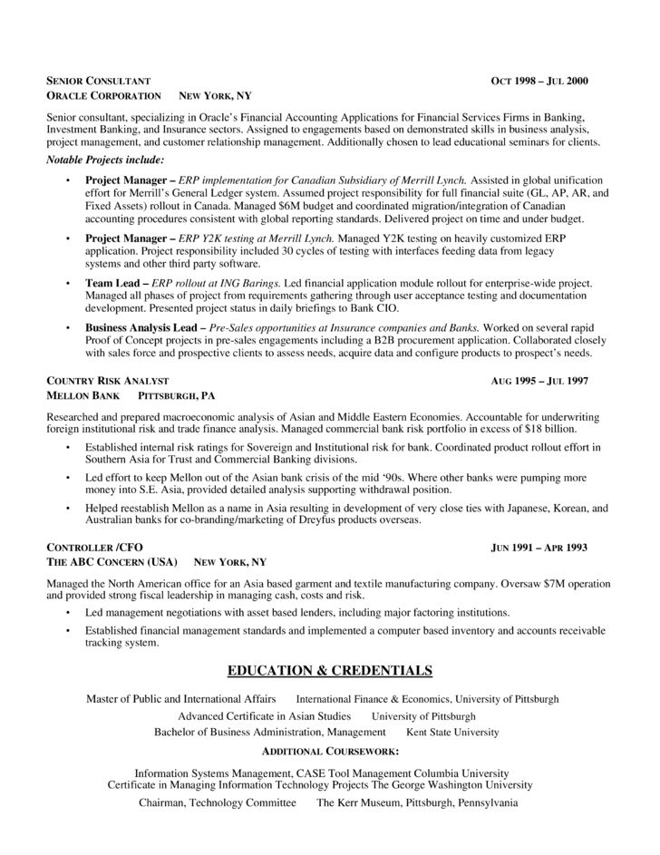 Example Of Business Analyst Resume