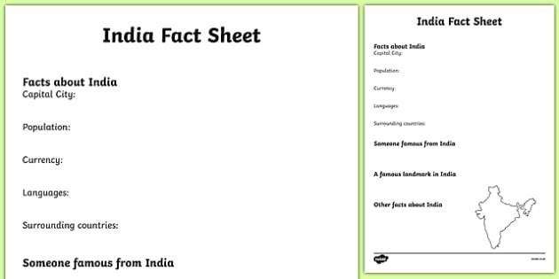 India Fact Sheet Writing Template - india, india fact sheet