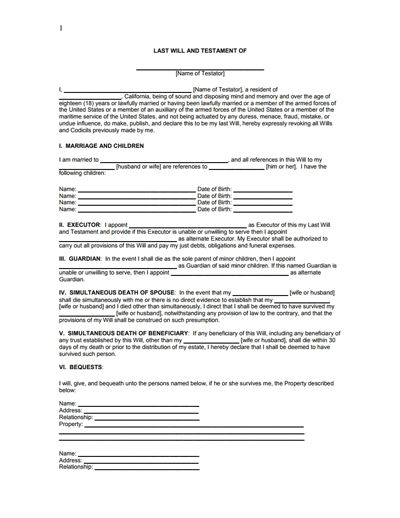 Last Will and Testament Form- Free Download, Create, Edit & Print