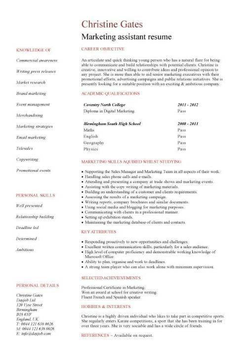 Marketing Assistant Resume Example | EssayMafia.com