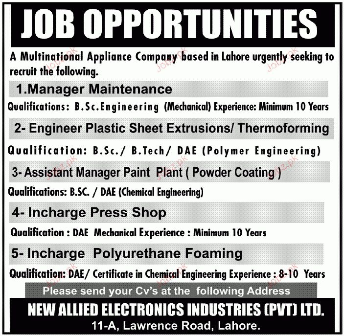 Manager Maintenance, Engineer Plastic Sheet Required 2017 Jobs ...