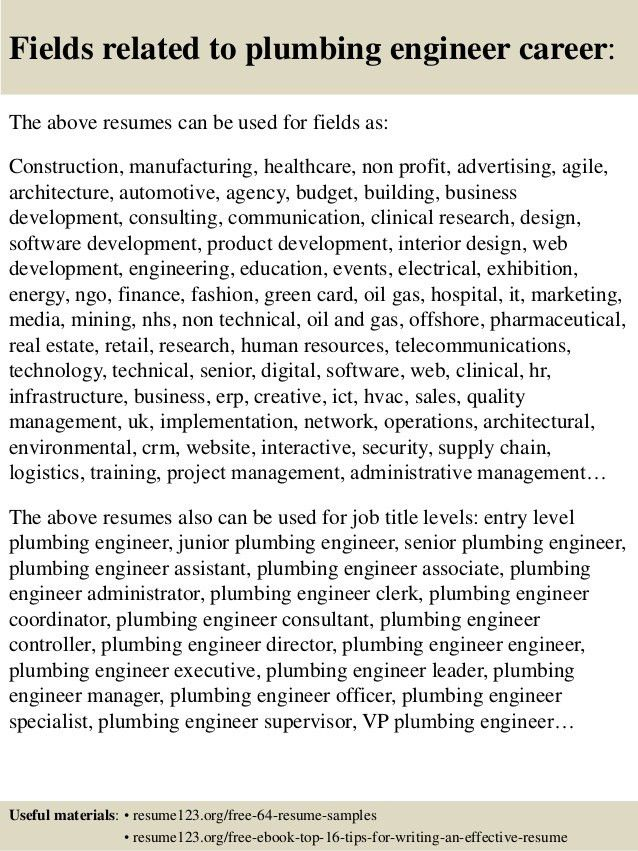 Top 8 plumbing engineer resume samples