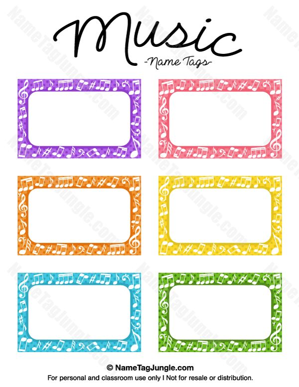 Free printable music name tags. The template can also be used for ...