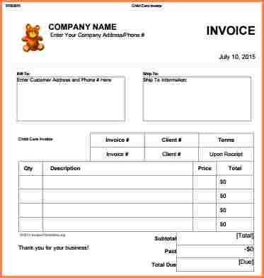 3+ babysitting invoice template | Invoice Term