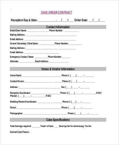 Cake Order Form Sample - 7+ Free Documents in Word, PDF