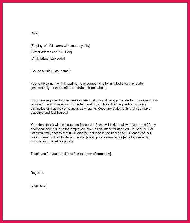 employee termination letter | sop examples