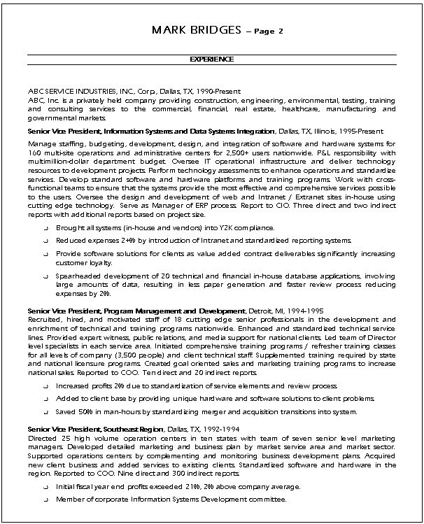 it resume example. sample cio resumes resume cv cover letter ...