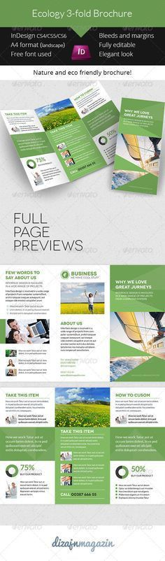 Simple Business 3-fold Brochure Indesign Template - Print ...