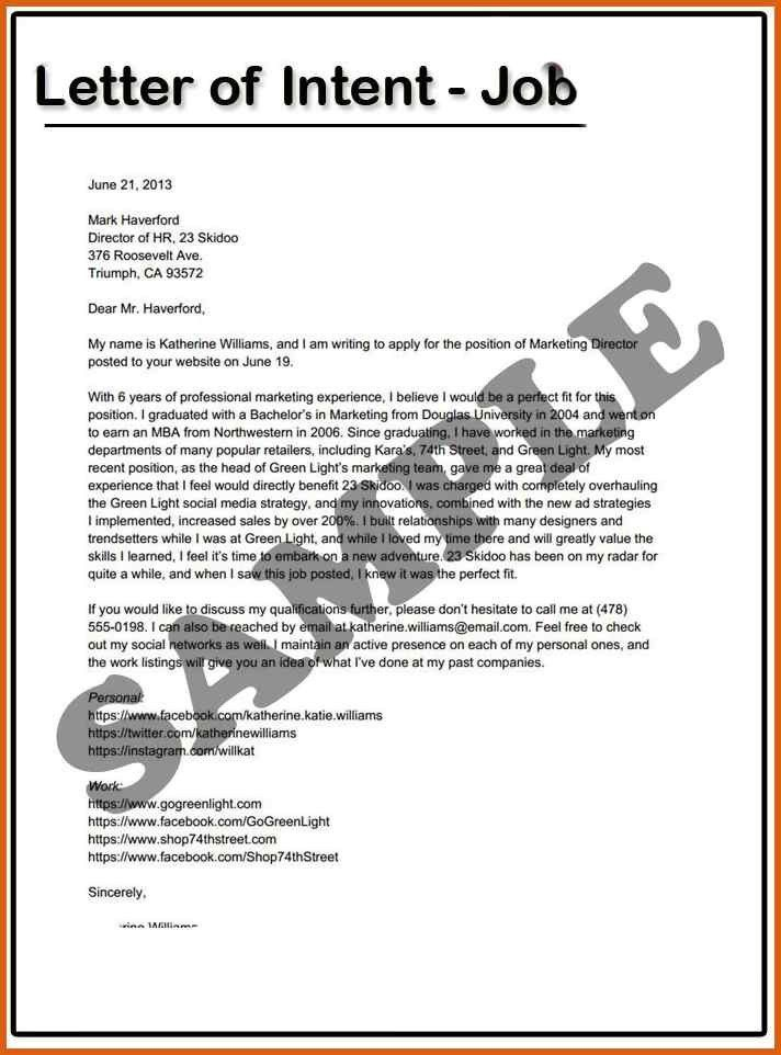 letter of intent for a job | apa examples